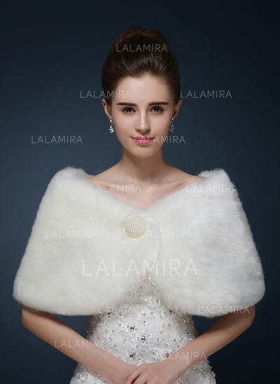 Wrap Wedding Faux Fur With Beading Ivory Red Wraps (013150097)