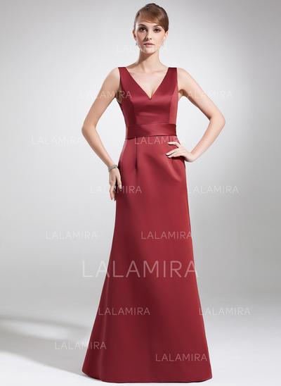Vestidos princesa/ Formato A Cetim Sem magas Decote V Longos Zipper ao lado Vestidos para a mãe da noiva (008213144)