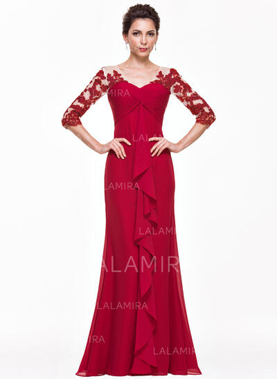 Empire V-neck Floor-Length Chiffon Evening Dress With Appliques Lace Cascading Ruffles (017065560)