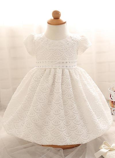 Satiné Col rond Brodé Robes de baptême bébé fille avec Manches courtes (2001218007)