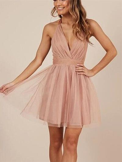 Gorgeous Homecoming Dresses A-Line/Princess Short/Mini Halter Sleeveless (022216384)