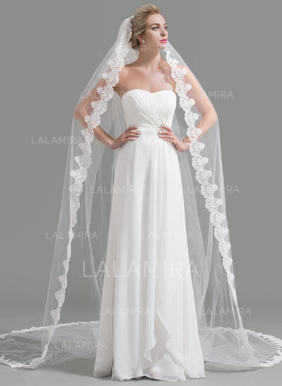 Cathedral Bridal Veils Tulle One-tier Drop Veil With Lace Applique Edge Wedding Veils (006151941)