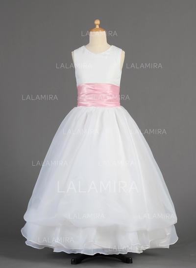 Fashion A-Line/Princess Sash Sleeveless Organza/Charmeuse Flower Girl Dresses (010014615)