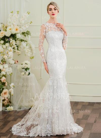 Trompete/Sereia Ilusão Sweep/Brush trem Renda Vestido de noiva (002097353)