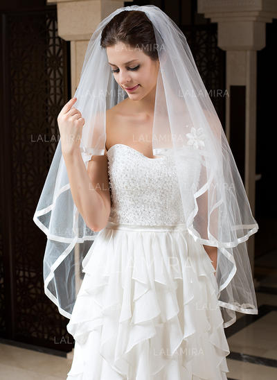 Fingertip Bridal Veils Tulle Two-tier Angel cut/Waterfall/Cascade With Ribbon Edge Wedding Veils (006151188)