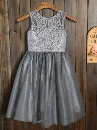 Escote redondo Corte A/Princesa Vestidos para niña de arras Fajas/Plisado Sin mangas Hasta la rodilla (010211915)