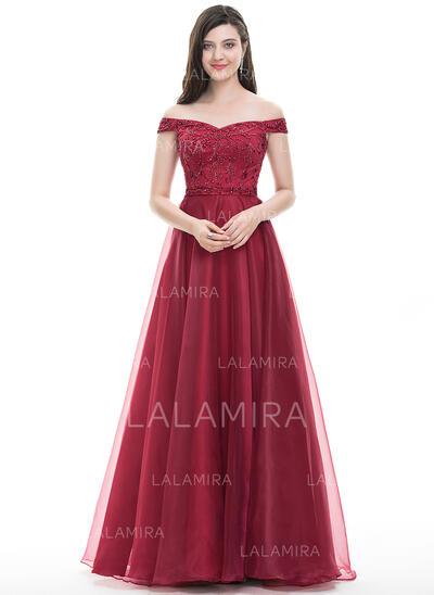 Vestidos princesa/ Formato A Off-the-ombro Longos Organza de Vestido de baile com Beading lantejoulas (018105564)