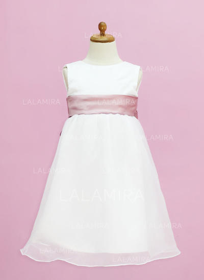 Gorgeous Scoop Neck Empire Organza/Satin Flower Girl Dresses (010005332)