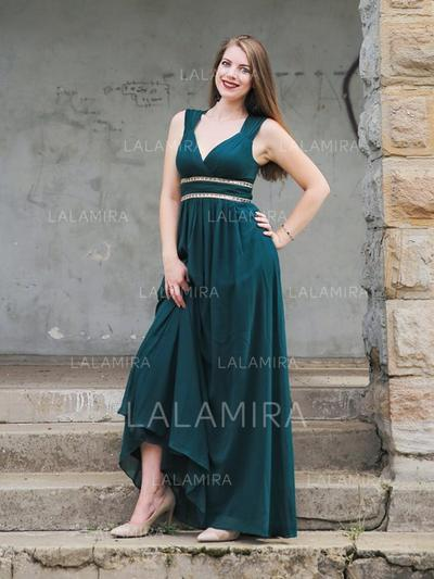 Regular Straps Chiffon V-neck Empire Prom Dresses (018218109)
