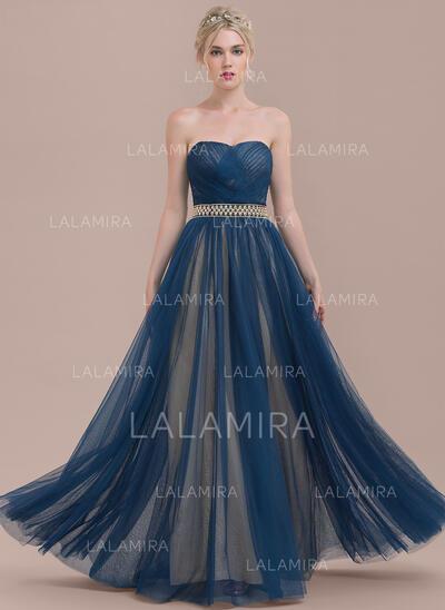 A-linjainen/Prinsessa Kultaseni Lattiaa hipova pituus Tylli Morsiusneitojen mekko jossa Rypytys Helmikoristelu (007126520)