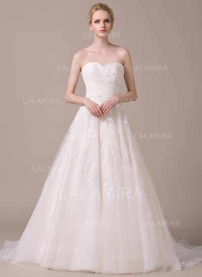 Sans manches Standard Grande taille Chérie avec Organza Robes de mariée (002058768)