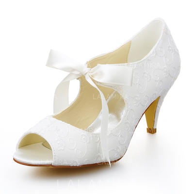 Women's Peep Toe Pumps Kitten Heel Satin With Ribbon Tie Wedding Shoes (047205170)
