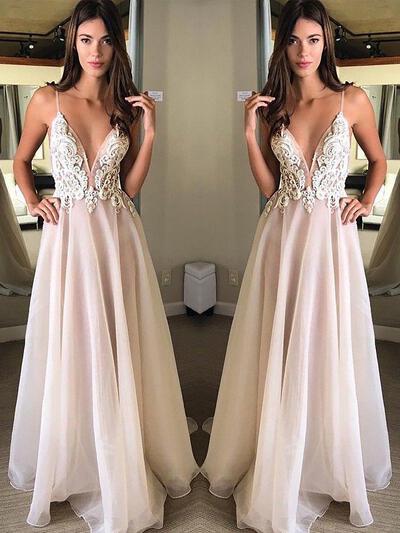 V-neck A-Line/Princess - Organza Luxurious Prom Dresses (018210934)
