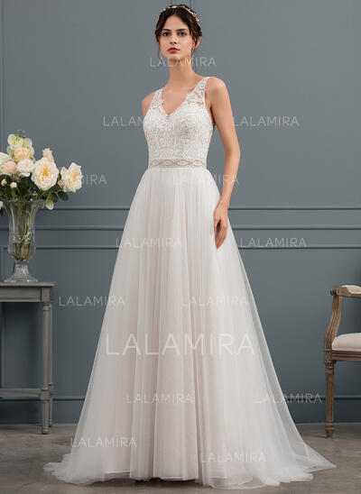 Forme Princesse Col V Balayage/Pinceau train Tulle Robe de mariée avec Brodé (002145287)