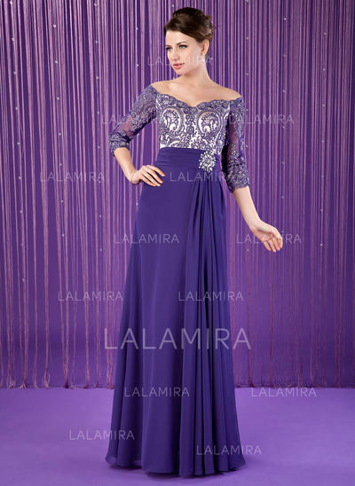 A-Line/Princess Chiffon 3/4 Sleeves Off-the-Shoulder Floor-Length Zipper Up Mother of the Bride Dresses (008213150)