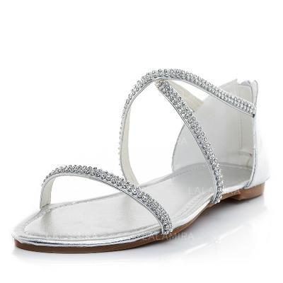 Women s Flats Sandals Flat Heel Leatherette With Rhinestone Wedding Shoes  (047204550)