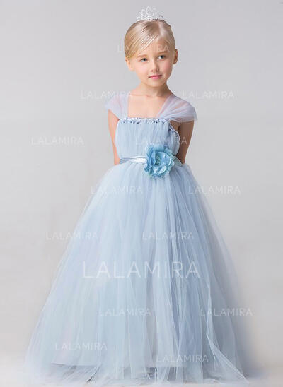 Ball Gown Ankle-length Flower Girl Dress - Tulle Sleeveless Straps With Flower(s) (010092254)