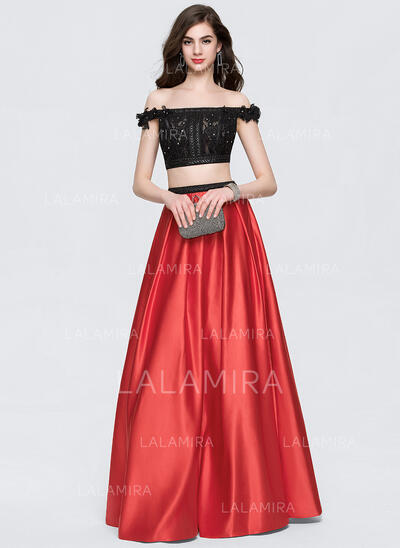 Ball-Gown Off-the-Shoulder Floor-Length Satin Prom Dresses