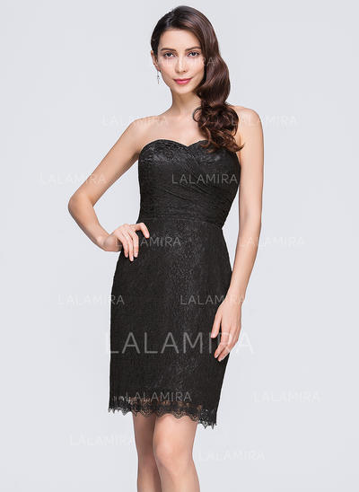 Ruffle Sheath/Column Sweetheart Lace Cocktail Dresses (016074682)