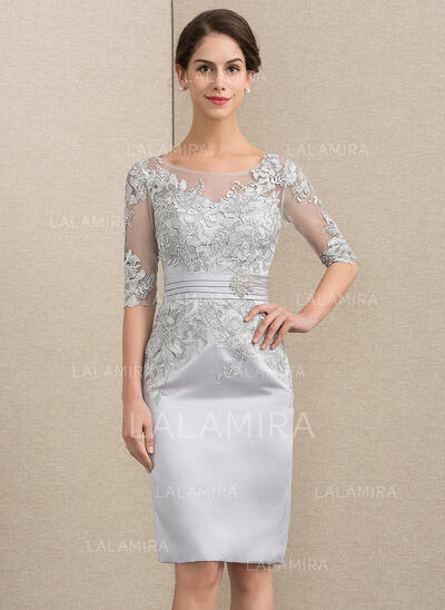 Sheath/Column Scoop Neck Knee-Length Satin Lace Mother of the Bride Dress (008152158)