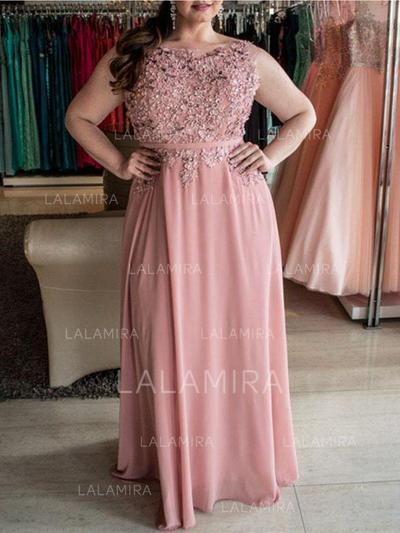Chiffon Sash Beading Scoop Neck Sleeveless Prom Dresses