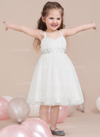 A-Line/Princess Tea-length Flower Girl Dress - Tulle Sleeveless Sweetheart With Beading/Sequins/Pleated (010115795)