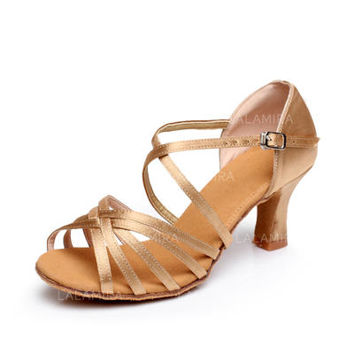 Women's Latin Heels Sandals Satin With Ankle Strap Dance Shoes (053179641)