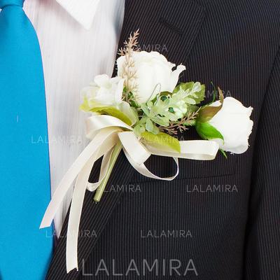"Boutonniere/Men's Accessories Round Wedding/Party Artificial Silk 5.51""(Approx.14cm) Wedding Flowers (123188610)"