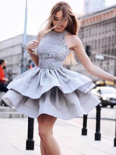 Plissé Dentelle Forme Princesse Court/Mini Satiné Robes de soirée étudiante (022216355)