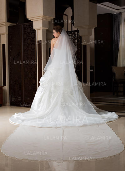 Cathedral Bridal Veils Tulle One-tier Drop Veil/Rectangular With Scalloped Edge Wedding Veils (006151510)