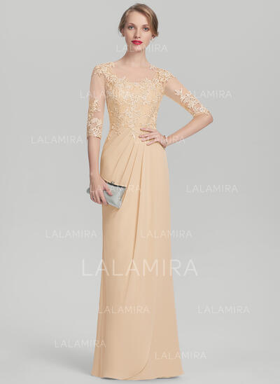 A-Line/Princess Scoop Neck Floor-Length Chiffon Lace Mother of the Bride Dress With Ruffle Beading Sequins (008107666)