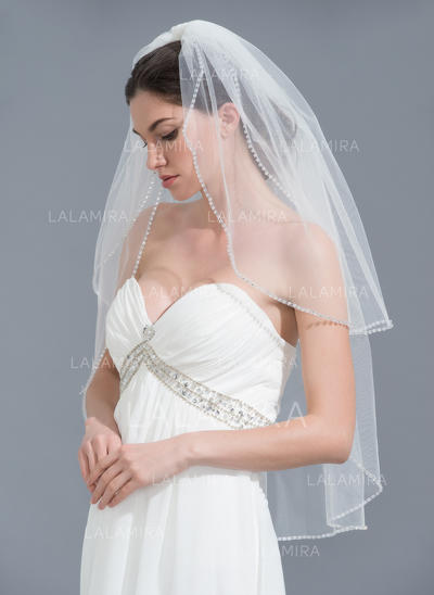 Fingertip Bridal Veils Tulle Two-tier Classic With Beaded Edge Wedding Veils (006152121)