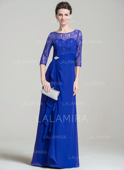 A-Line/Princess Chiffon Lace 3/4 Sleeves Scoop Neck Floor-Length Zipper Up Mother of the Bride Dresses (008074201)