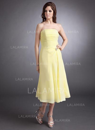 A-Line/Princess Tea-Length Chiffon Tea-Length Bridesmaid Dresses (007001148)