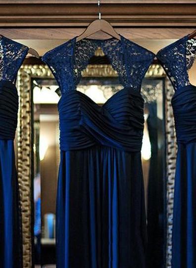 A-Line/Princess Chiffon Bridesmaid Dresses Ruffle Lace Sweetheart Sleeveless Floor-Length (007144973)