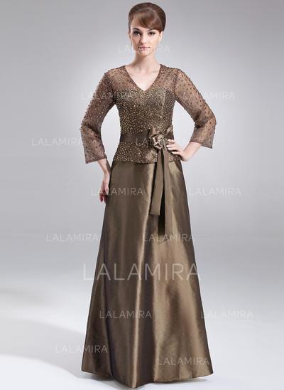 Modern V-neck A-Line/Princess Taffeta Mother of the Bride Dresses (008211205)