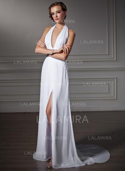 Corte A/Princesa Sin mangas Volantes Apertura frontal Gasa Vestidos de baile de promoción (018002458)