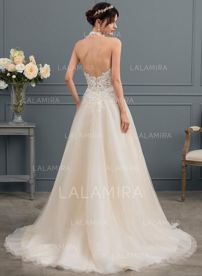 De Baile/Princesa Cabresto Cauda de sereia Tule Vestido de noiva com Beading lantejoulas (002153429)