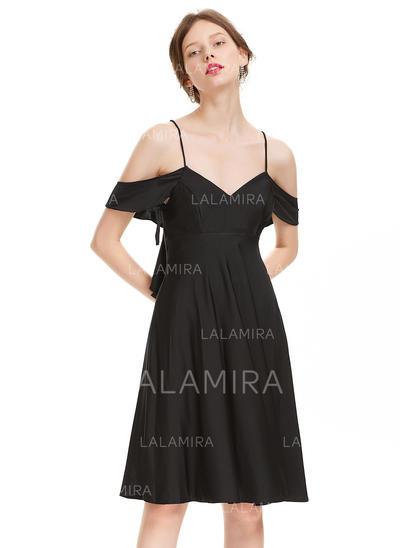 Robe à volants Forme Princesse Longueur genou Jersey Robes de soirée étudiante (022214167)