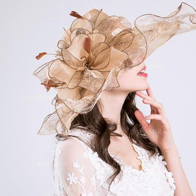 Bomull/Netto Garn med Silke blomst Diskett Hatt Vakkert Damene ' Hatter (196118626)