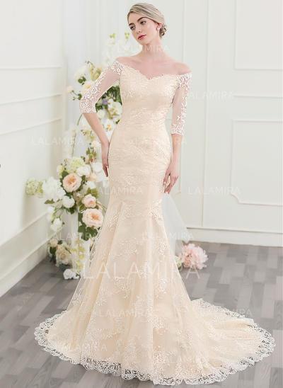 Encaje Corte trompeta/sirena con Magnífico General Grande Vestidos de novia (002095833)