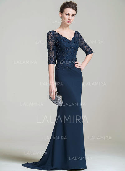 Trumpet/Mermaid Chiffon 1/2 Sleeves V-neck Sweep Train Zipper Up Mother of the Bride Dresses (008074204)
