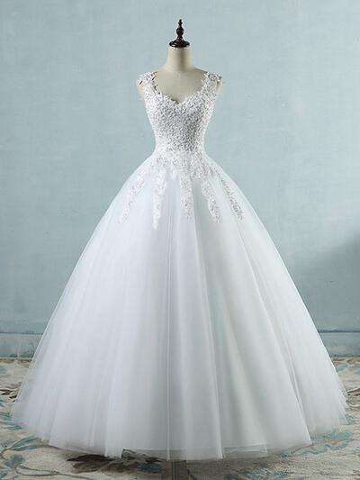 Delicate Tulle Wedding Dresses With Regular Straps Appliques (002218627)