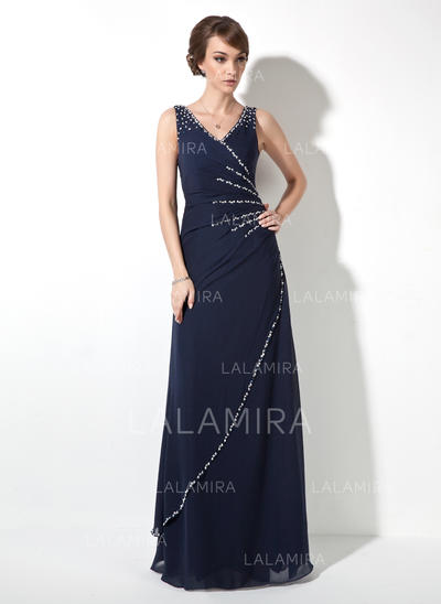 V-neck Chiffon Floor-Length Evening Dresses Sleeveless (017020681)