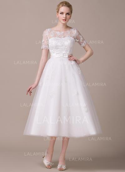 Manches courtes Standard Grande taille Encolure dégagée avec Tulle Robes de mariée (002059206)