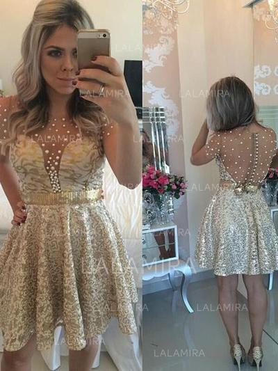 A-Line/Princess Scoop Neck Short/Mini Homecoming Dresses With Beading (022212291)