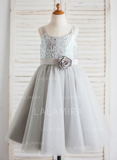 Forme Princesse Longueur mollet Robes à Fleurs pour Filles - Tulle/Pailleté Sans manches Col rond avec Fleur(s) (010092588)