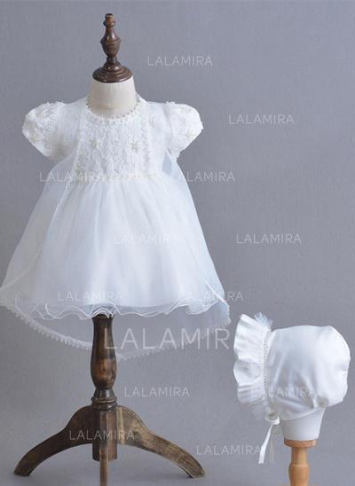 Tul Escote redondo Lazo(s) Vestidos de bautizo para bebés con Manga corta (2001216866)