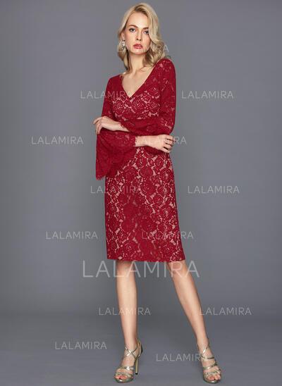 Sheath/Column V-neck Knee-Length Lace Cocktail Dress (016124585)