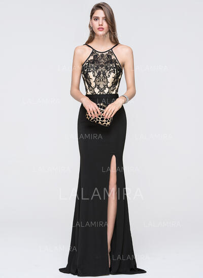 Sheath/Column Scoop Neck Floor-Length Jersey Prom Dresses With Split Front (018093793)